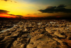 Arid. Abstract landscape rock in the evening Royalty Free Stock Photography