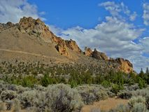 Arid Beauty. Scene at Smith Rock State Park near Terrebonne, OR stock images