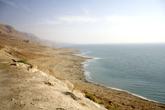 Arid dead sea coastline Royalty Free Stock Photos