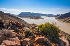 Arid desert dam Stock Images