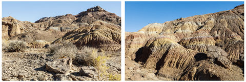 Arid desert mountains hills sage brush collage Stock Photo