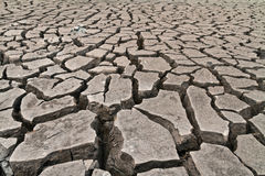 Arid ground land. Cracked by drought from global warming Royalty Free Stock Image