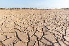 Arid ground. Splited ground with clear blue sky Royalty Free Stock Image