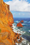 Arid island of Madeira. Atlantic storms. Arid eastern tip of the island of Madeira. Colorful pinnacles lit sunset Stock Images