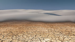 Arid Lands. Desert Scene with rolling dunes and dried mud Royalty Free Stock Images