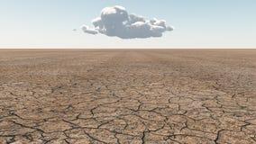 Arid Lands. Desert Scene with single cloud Stock Images