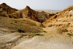 Arid landscape. Close to the Sahara desert in Tunisia Royalty Free Stock Photos