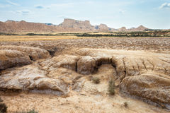 Arid landscape in Bardenas Reales, Navarra, Spain Royalty Free Stock Photo