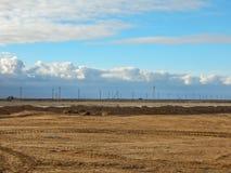 Arid landscape. Arid landscape, gas field. Kazakhstan Royalty Free Stock Photography