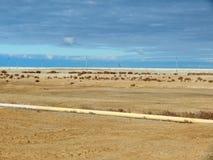 Arid landscape. Arid landscape, gas field. Kazakhstan Stock Photos