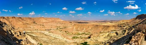 Arid landscape near Chenini in South Tunisia. Arid landscape near Chenini in Tataouine Governorate, South Tunisia Stock Photography