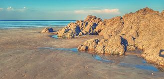 Arid landscape. On the Plage des Rosaires  Brittany, France Royalty Free Stock Photos