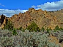 Arid Landscape. Scene in Smith Rock State Park near Terrebonne, OR Stock Photo