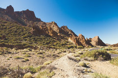 Arid landscape of Teide National Park, Tenerife. Canary Islands, Spain Royalty Free Stock Photos