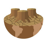 Arid planet earth icon. Flat design arid planet earth icon  illustration Royalty Free Stock Image