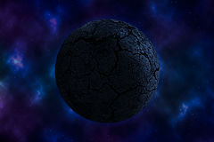 Arid planet on space. With colorful nebula Stock Photography