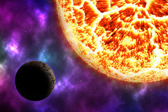 Arid planet on space with colorful nebula Stock Photo