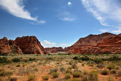 The arid red rock landscape of Snow Canyon State Park in Utah. The red rock landscape of Snow Canyon State Park in Southern Utah royalty free stock photography