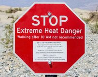 Warning sign at Death Valley. Arid scenery including a heat warning sign at Death Valley National Park in USA Stock Images