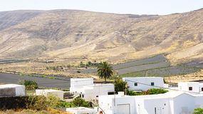Arid volcanic landscape in Lanzarote. Canary Islands, Spain Royalty Free Stock Image