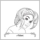 aridly Ένα νέο όμορφο κορίτσι υπό μορφή ενός από τα σημάδια διανυσματική απεικόνιση