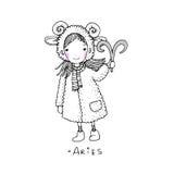 aridly Ένα χαριτωμένο μικρό κορίτσι σε ένα παλτό γουνών διανυσματική απεικόνιση