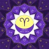 aridly Zodiac διάνυσμα ύφους περιλήψεων σημαδιών που τίθεται στο υπόβαθρο ουρανού αστεριών απεικόνιση αποθεμάτων