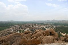 Arieal view of Hampi from the east side of Matanga Hill top, Hampi, Karnataka. Sacred Center. Krishna temple on the left and Virup. Arieal view of Hampi from the stock photo