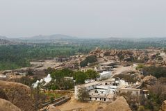 Arieal view of Hampi monuments from the south side of Matanga Hill, Hampi, Karnataka. Sacred Center. Krishna temple is seen on the. Arieal view of Hampi stock image