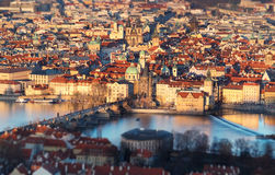 Arieal view of Old Prague with Charles Bridge crossing the river Royalty Free Stock Images