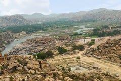Ariealmening van het noordoostelijke gebied van Hampi van Matanga-Heuvel, Hampi, Karnataka stock fotografie