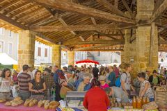 Ariege, France. 2015. Shoppers at French indoor marke royalty free stock photo