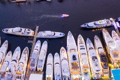 Free Ariel Direct Overhead Shot Of Luxury Super Yachts Lit At Night Fort Lauderdale International Boat Show Royalty Free Stock Photography - 163006947