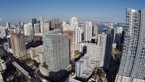 Ariel footage of Brickell Miami Royalty Free Stock Photography