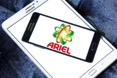 Ariel laundry detergent logo. Logo of ariel laundry detergent or washing powder on samsung mobile on samsung tablet Royalty Free Stock Photography