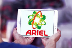 Ariel laundry detergent logo. Logo of ariel laundry detergent or washing powder on samsung tablet Stock Image