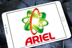 Ariel laundry detergent logo. Logo of ariel laundry detergent or washing powder on samsung tablet Royalty Free Stock Photos