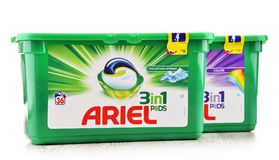 Ariel laundry detergent products isolated on white. POZNAN, POLAND - OCT 4, 2017: Ariel is a laundry detergent product the flagship brand of Procter & Gamble Stock Photo