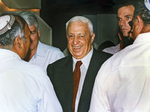 Ariel Sharon. Then acting Likud Party Chairman shmoozes attendees at the Likud Party meeting Royalty Free Stock Image