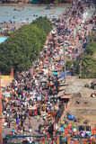 Ariel shot of crowd at local market next to Jama Royalty Free Stock Photography