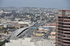 Ariel sikt av en Los Angeles motorväg arkivfoton
