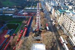 Ariel veiw van Kerstmisfestival in de stadscentrum van Edinburgh royalty-vrije stock foto