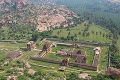 Ariel view of Achyuta Raya Temple and Courtesan`s street from Matanga Hill. Hampi, Karnataka. Sacred Center. Ariel view of Achyuta Raya Temple and Courtesan`s stock image