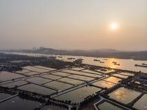 Ariel View des Küstendorfsonnenuntergangs in Guangzhou China Lizenzfreies Stockfoto