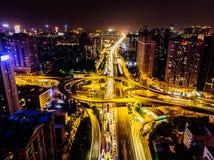 Ariel View des Stadt-Verkehrs in Guangzhou China Stockbild