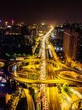 Ariel View des Stadt-Verkehrs in Guangzhou China Stockbilder