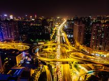 Ariel View des Stadt-Verkehrs in Guangzhou China Lizenzfreie Stockfotografie