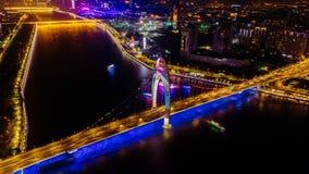 Ariel View des Stadt-Verkehrs in Guangzhou China Stockfoto