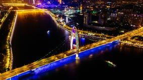 Ariel View des Stadt-Verkehrs in Guangzhou China Lizenzfreies Stockfoto