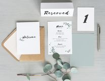 Ariel view of a dinner invite, table card placement and a menu Stock Image